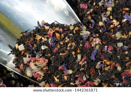 Black tea with aromatic and vitamin supplements. tea of the most usual type, that is fully fermented before drying. (of a substance) undergo fermentation. #1442365871