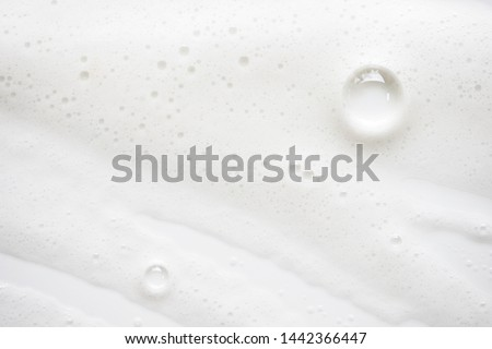 Abstract background white soapy foam texture. Shampoo foam with bubbles #1442366447