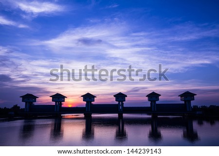 Bangpakong watergate ,the watergate use for block saltwater and freshwater in eastern part of Thailand #144239143