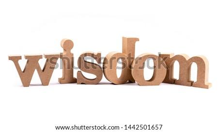 Wisdom wood alphabet isolated on white background #1442501657
