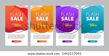 Flash sale banner template design. Dynamic modern fluid template ready for use in web or print design. Flash Sale special offer set can use for instagram #1442537093