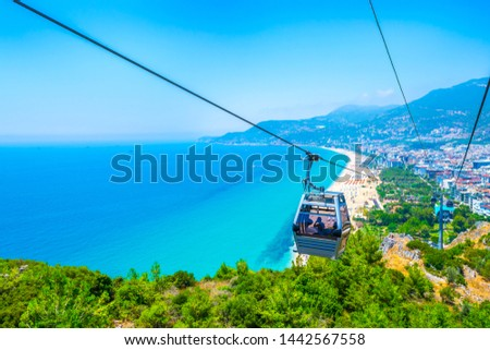 Cable car over Cleopatra beach in Alanya, Turkey. The cable car ride (funicular) to the top of the castle Alanya #1442567558