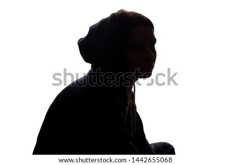 Young woman with grief dropped his arms - silhouette #1442655068