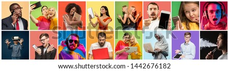 Portrait of people using different gadgets on multicolor background. Male and female models using smartphone, headphones, VR-glasses, laptop, tablet. Modern technologies. Creative collage made of 14 #1442676182