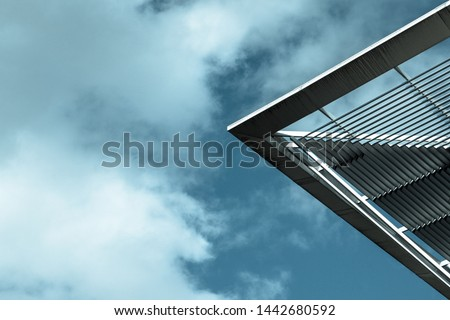Modern Architecture. Minimalist Aesthetics. Minimal architecture detail against sky. Abstract Background Image. High Resolution Photography.
