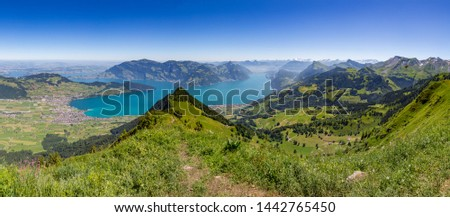 panorama view from Buochserhorn on lake Lucerne and Swiss alps, blue sky #1442765450