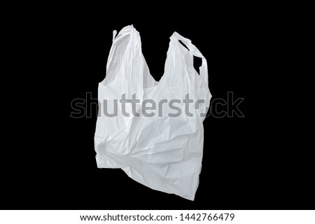 white plastic bag isolated on black,it is one white plastic bag isolated on black. #1442766479