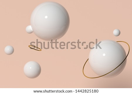 Delicate background for beauty advertising. Delicate pink background with white spheres. Pastel pink color background. Abstract background for banner #1442825180