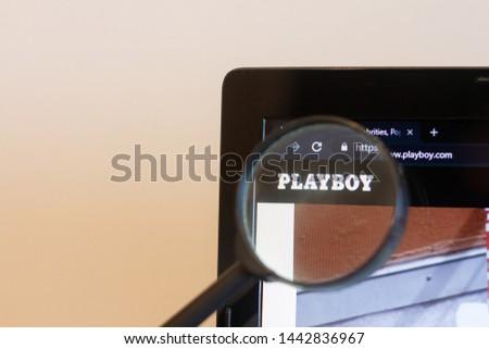 Los Angeles; California; USA - 27 June 2019: PLAYBOY website homepage. PLAYBOY logo visible on monitor screen #1442836967