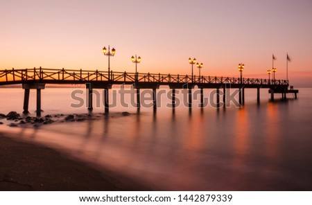 Early hours of daylight on the beach of Marbella on the Costa de Sol (Malaga) Spain #1442879339
