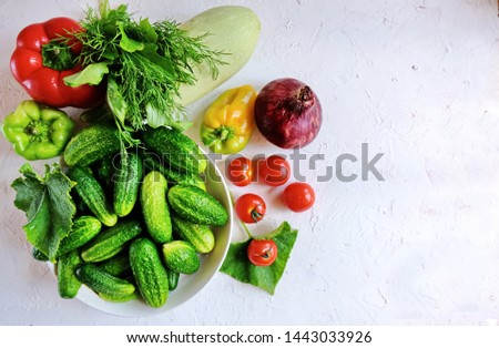 Diet concept. Ketogenic Diet (or Keto Diet), Veganт diet on chalkboard, health conceptual. Healthy fresh low carbohydrates food; tomatoes,cauliflower, cucumbers, onions, . Top view. Copy space. #1443033926