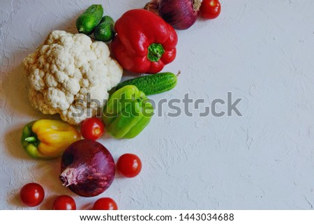 Diet concept. Ketogenic Diet (or Keto Diet), Veganт diet on chalkboard, health conceptual. Healthy fresh low carbohydrates food; tomatoes,cauliflower, cucumbers, onions. Top view. Copy space. #1443034688