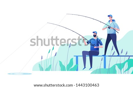 Fishermen at river bank. Fishing sport, outdoor summer recreation, leisure time. Vector illustration.