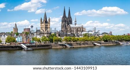 Cologne city skyline in summer along the Rhine river, North Rhine-Westphalia, Germany #1443109913