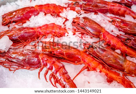 Red lobsters - a real delicacy for lovers of tasty food. Fishing artels catch this species of crustaceans and keep them in ice for sale to shops or restaurants. #1443149021