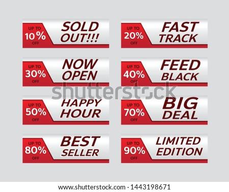 red banner promotion tag design for marketing on set #1443198671