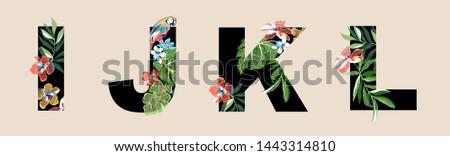 alphabet flowers fonts tropical summer #1443314810