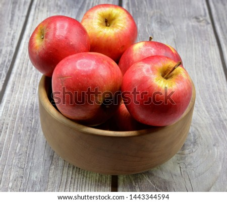 red apples on wooden background  #1443344594