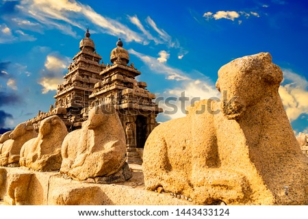 Famous Tamil Nadu landmark, UNESCO world heritage  - Shore temple, world heritage site in Mahabalipuram,South India, Tamil Nadu, Mahabalipuram #1443433124