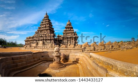 Famous Tamil Nadu landmark, UNESCO world heritage  - Shore temple, world heritage site in Mahabalipuram,South India, Tamil Nadu, Mahabalipuram Royalty-Free Stock Photo #1443433127