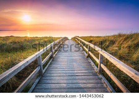 Wooden pier at sunset along the dune beach, North Sea, Germany Royalty-Free Stock Photo #1443453062