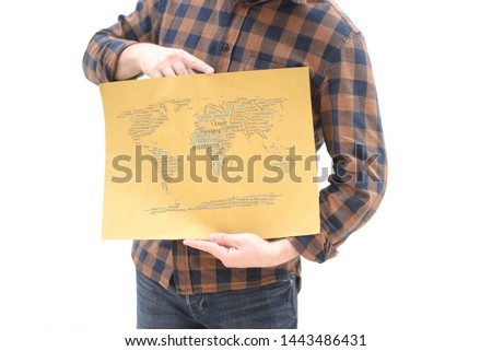 Young professional showing a word cloud with logistics terms, incoterms and freight forwarding concepts #1443486431