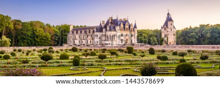 Castle or chateau de Chenonceau, France. This Renaissance castle is one of the main landmarks in France. Scenic panoramic view of the castle with beautiful garden. Scenery of French castle in summer. #1443578699