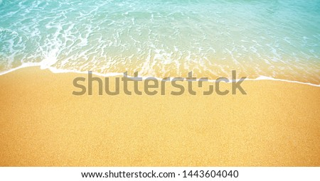 Soft ocean wave on the sandy beach background          #1443604040
