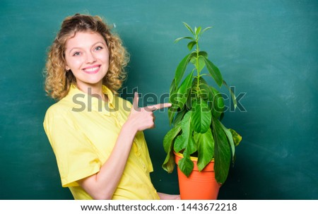 Botany is about plants flowers and herbs. Take good care plants. Florist concept. Girl hold plant in pot. Plants that sure stress relief home and provide you with sanctuary of peace and tranquility. #1443672218
