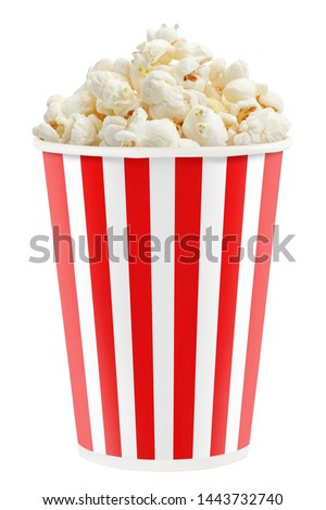 Delicious popcorn in a red striped paper cup, isolated on white background #1443732740