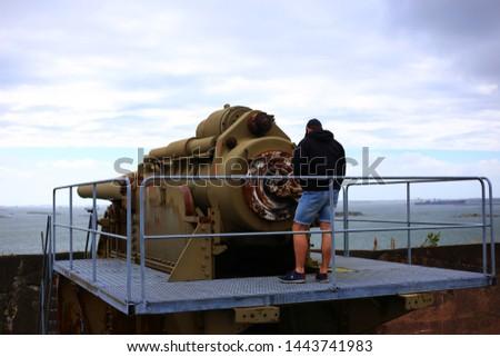 Gothenburg, Västra Götalands County/Sweden - 07 06 2019: Oscar the II´s fort, coastal artillery cannons outside Gothenburg #1443741983
