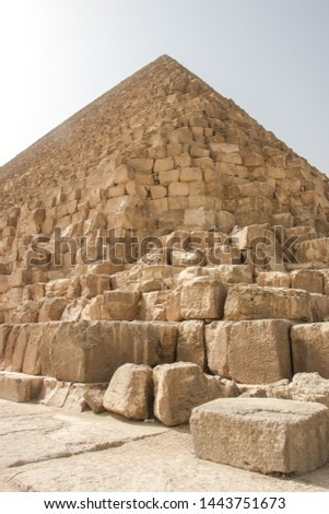 GIza pyramid , in Egypt  the Greatest wonder of the world, the Egypt pyramids and the stone Sphinx on the Giza platou in endless sands of the Sahara desert #1443751673