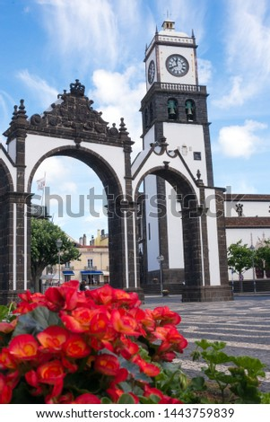 The Church of St. Sebastian is one of the main attractions of Ponta Delgada. Tower with a clock and bells. Azores, Sao Miguel. #1443759839