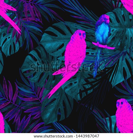 Watercolor seamless pattern with parrots and tropical leaves. Bright summer print.  #1443987047