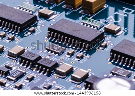 Close-up image of various parts of the computer chip. #1443996158