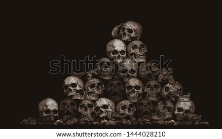 Awesome pile of skull and bone on brown cloth background, Still Life style, Adjustment color for background