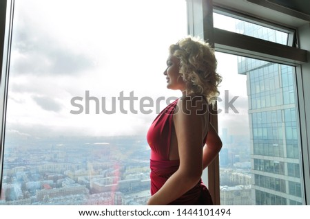 Gorgeous girl in apartment over city #1444101494