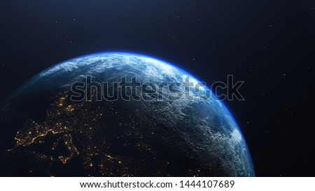Earth planet viewed from space at night showing the lights of Europe, 3d render of planet Earth, elements of this image provided by NASA #1444107689