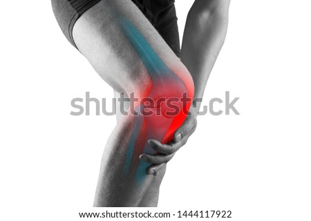 Knee pain, man with legs ache, chiropractic treatments concept with highlighted skeleton, isolated on white background #1444117922