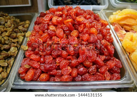 delicatessen fresh dates, dried figs, dried apricots, dried oranges, dried cherries #1444131155