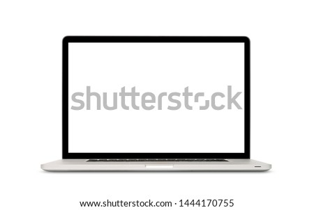 Front view of modern laptop with blank screen, aluminum body material, isolated on white background. Clipping path Royalty-Free Stock Photo #1444170755