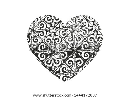 Isolated distress grunge heart with floral eastren ornament, flower and leaves texture. Element for greeting card, Valentine s Day, wedding. Creative concept. Vector illustration #1444172837