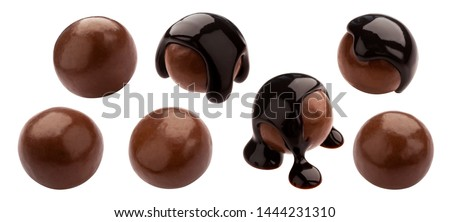 Homemade cocoa balls, dragee with melted chocolate. Whole isolated candies set. Luxury sweets with shiny brown icing on white background. Tasty gourmet confectionery collection Royalty-Free Stock Photo #1444231310