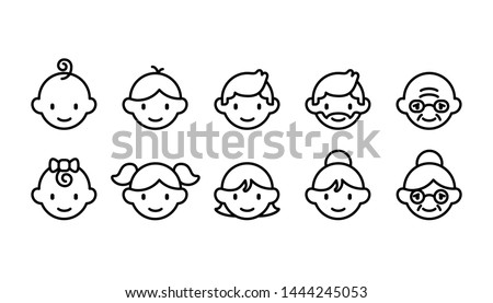 Icon set of different age groups of people from baby to elder (Cute simple art style)  Royalty-Free Stock Photo #1444245053