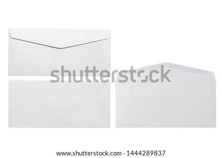 White envelope front and back isolated on white background. Letter top view. Object with clipping path Royalty-Free Stock Photo #1444289837