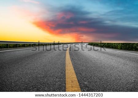 Sky Highway Asphalt Road and beautiful sky sunset scenery #1444317203