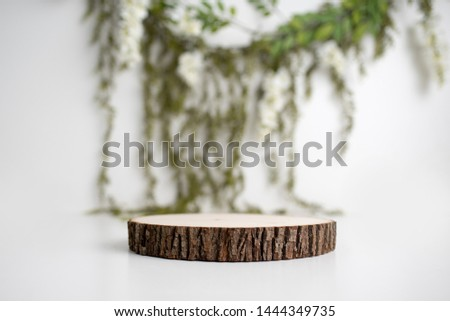 Wood log product placement set, mock up for products, Wood background	  #1444349735