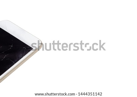 Phone, broken phone or broken screen Place isolated with a white background. #1444351142