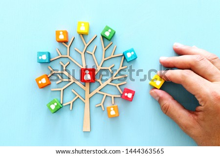 Business image of wooden tree with people icons over blue table, human resources and management concept #1444363565