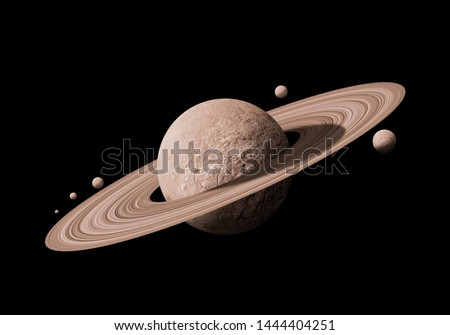 saturn planets in deep space with rings  and moons surrounded. isolated with clipping path